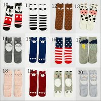 Wholesale Baby High Pads - Fashion unisex cartoon Animal leg warmers baby girls & boys knee high Totoro Panda Fox socks kids cute Striped Knee Pad sock TA203