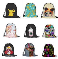Wholesale Drawstring Backpack Animals - Emoji Backpack Cartoon Animal Kids School Bags 3D print travel backpacks Skeleton Pikachu drawstring bag 24 styles Gift for Kids D912 10
