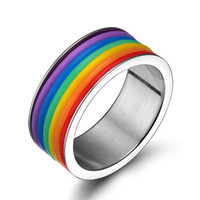 Nouveaux bijoux personnalisés en acier inoxydable Titanium Steel Rainbow Rings for Men and Women Wholesale for Gift