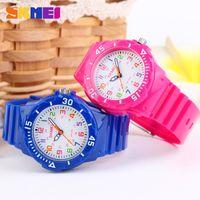 Wholesale Luminous Kids Glasses - SKMEI Fashion Casual Children Watches 50M Waterproof Quartz Wristwatches Jelly Kids Clock Boys Hours Girls Students Watch 1043