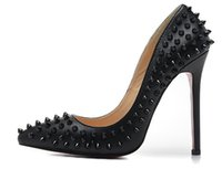 Wholesale Womens Black Party Heels - 2017 Fashion New Luxury Brand High Heels Rivets Womens Shoes Pumps 12CM Black Heels Woman Sexy Pointed Toe Wedding Shoes