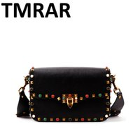 Wholesale Stud Bag Leather - Wholesale-2016 New genuine leather rock color stud handbags women fashion color rivets shoulder bags easy matching for valentines M1928