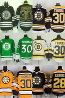 Wholesale ice hockey outlet - Factory Outlet new arrivals-Men's Boston Bruins #28 Marque Rechi #30 Tim Thomas Black White Yellow Green ice hockey jerseys Free shipping