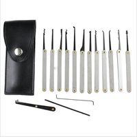 Wholesale Bag Sends Tools - Good quality 12pcs Lock Picks Sets Stainless Handles w  Bag Removing Key Set Lockpick Locksmith Tools Lock Opener Unlock Door LS014 Send a