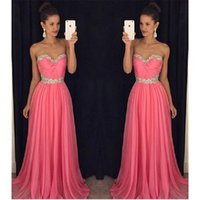 Wholesale Watermelon Sweetheart Sequin Prom Dress - Watermelon Prom Dresses Chiffon Sweetheart A-line Beaded Neck Long Pageant Gown For Women Cheap Special Occasion Party Dress Vestido Social