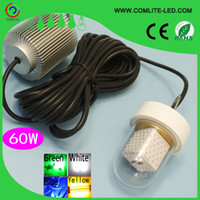 Wholesale Led Underwater Fishing Light Boat - Wholesale- 60W 12V LED Green Underwater Fishing Light Lamp Fishing Boat Light Night Fishing Lure Lights for Attcating Fish