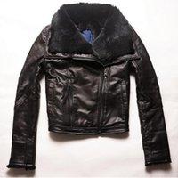 Wholesale Genuine Rabbit Fur Coat - Factory 2017 Women Jackets Real Sheepskin Genuine Leather With Natural Rabbit Fur Liner Fashion Brand Slim Warm Winter Coats