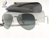 Wholesale Gun Case Green - 58mm 62mm High Quality Mens & Womens Metal Pilot Sunglasses G15 Glass Lens Gun Grey Frame Sun Glasses + Box, Case, Card