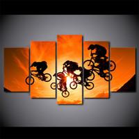 fahrrad gemälde leinwand großhandel-5 Teile / satz Leinwandbilder HD Drucke Wandkunst BMX Fahrrad Motocross Gemälde Für Wohnzimmer Wohnkultur Modulare Bilder