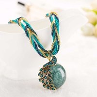 Wholesale Rough Pendant - 2017 New Peacock decoration rough necklace short clavicle female chain gem stone pendant necklace style summer jewelry