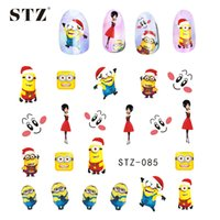 Wholesale Snow Nail Stickers - Wholesale- 1X Nail Art Christmas Cartoon Designs Cute&Lovely Decals Stickers Nail Art Decorations Watermark Xmas Snow Nail Charm STZ085