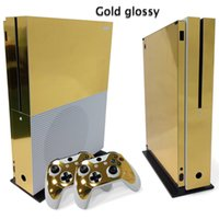 Wholesale Xbox One Skins - Golden glossy Full Set Skin Sticker Protective Vinyl Decals For Microsoft xbox one S Console and 2 Controllers Cover Skin Stickers