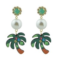 Wholesale Earring Coconut - Green Color Coconut Tree Shape With Simulated-pearl Colorful Rhinestone Drop Earrings Accessories Jewelry For Women