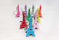 Wholesale Colorful Zakka Vintage Eiffel Tower Keychain Tower pendant key ring gifts Fashion Wholesales Gold Sliver Bronze