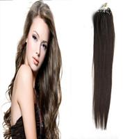 Wholesale real dark brown hair extensions resale online - Micro Loop Hair Extensions Dark Brown human hair g Loop Ring Links Remy Straight Real Hair strands
