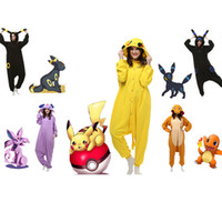 Wholesale Japanese Cosplay Wholesale - Pikachu Outfit Pajamas fashion Cosplay Costume hoody Kigurumi Pyjamas Onesies Unisex Romper Anime Costumes poke mon gaming fancy sleepware