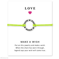 Wholesale Leather Friendship Bracelets For Women - (10 pcs lot)Silver Dance Charm Bracelets & Bangles for Women Girls Adjustable Friendship Statement Jewelry with Card