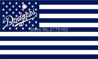 Wholesale Dodgers Banner - Los Angeles Dodgers flag 3*5ft Banner Stars and Stripes Polyester Flag 2 metal Grommets Jackie Robinson Clayton Kershaw Trayce Thompson