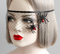 Wholesale Womens Devil Halloween Costumes - Halloween Black Net Veil with Spider Womens Prom Costume Masquerade Ball midnight party Mask Hen eyemask COS Witch devil fancy dress