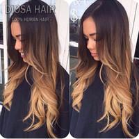 Wholesale u part wig ombre color for sale - Diosa Lace Front Ombre Human Hair Wigs B T4 T27 Ombre Full Lace Wig human hair wigs for black women u part wigs