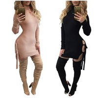 robes en tricot achat en gros de-2017 HOt Sale New Fashion Women tricoté Sexy Party Autumn style Vestidos Robes Ladies 'Hollow out Bodycon Bandage Body bodysuits