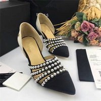Wholesale High heeled shoes Women s Shoes With slope High quality Leather high quality casual Comfortable Fashion trends bead black Genuine leather