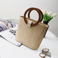 Wholesale Wooden Handle Clutch Bag - Summer tote round wooden handle women's handbags large straw beach bag clutch patchwork handbag designer
