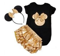 Wholesale Minnie Mouse Rompers - minnie mouse party toddler clothes girls boutique outfits baby girl black rompers + gold headbands + ruffle bloomers sets childrens outfits