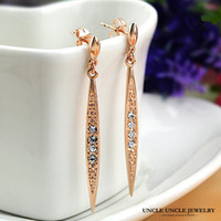 Wholesale Gold Willow - Rose Gold Color Austrian Rhinestone Willow Leaf Design Long Tassel Lady Drop Earrings