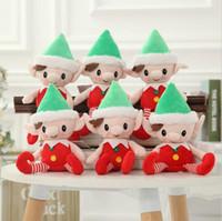 Wholesale Cute Doll Christmas - Christmas Santa Elf Plush Toys 30cm Cute Christmas Spirit Doll Elf On Shelf Christmas Plush Doll Stuffed Toy Santa Deco Elves Toys KKA2188