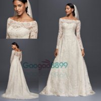 Wholesale feather basque wedding dress for sale - Group buy 2019 Oleg Cassini Modest Vintage Wedding Dresses with Long Sleeves Lace Applique Off shoulder Garden Outdoor Plus Size Bridal Gowns