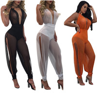 Wholesale Womens Sexy See Through Jumpsuits - Wholesale- 2017 Summer New Sexy Jumpsuits Wide Leg One Piece Outfits Full Bodysuit See Through Backless Mesh Rompers Womens Jumpsuit