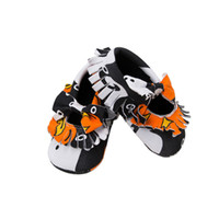 Wholesale baby boy moccasins shoes online - Halloween Baby Moccasins Pumpkin Shoes Boy Girls Soft Sole Anti slip Baby Shoes Infant Toddler Walking Shoes Prewalkers M