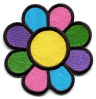 eisen appliques blumen großhandel-WholeSale Custom Pretty Design Flower power boho hippie retro liebe frieden applique eisen auf patch versandkostenfrei