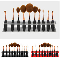 Wholesale Round Display Clear - 10 Grids Toothbrush Makeup Brushes Display Holder Brush Showing Rack Toothbrush Holder Makeup Brushes Drying Stand Storage