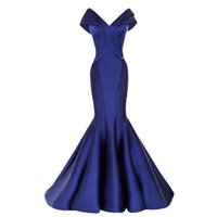 Wholesale Royal Blue Mermaid Evening Dresses Long Off Shoulder Zipper Sweep Train V Neck Pleat Prom Gowns Vestido De Noite