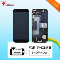 Wholesale Full House Complete - Silver Gray Complete Housing Back Battery Door Cover Mid Frame Assembly for iPhone 5 with Small Repair Parts Full