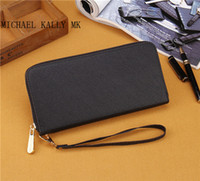 Wholesale Single Card Holder - Hot sale fashion Women MICHAEL KALLY MK wallets good quality PU leather wallet single zipper Cross pattern clutch girl purse 0033