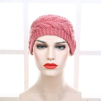 Wholesale Knit Turban Twist Headband - 2017 Fashion Women Crochet Knitted Headband Chunky Twist Turban Knit Head Wrap Ears Warm Multicolor Solid Hair Band Accessories