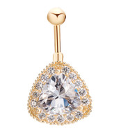 Wholesale Sexy Girl Navel - Luxury Big Clear AAA CZ Crystal Diamond 18k Yellow Gold Plated Belly Ring Button Ring Body Piecing for Sexy Women