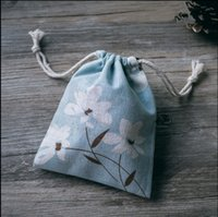 Blue Theme Wedding Decoration Linen Burlap Drawstring Bag Wedding Candy Cadeaux Faovrs Sacs Baby Shower Favors 50pcs / lot