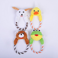 Wholesale Designs Interactive - Dog Cat Puppy Plush Toys Interactive Pet Chew Squeaker Squeaky Toy Dog Sound Toy Duck Frog Bear Dog 4 Designs WA1879