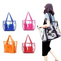 Wholesale Transparent Shoulder Candy Handbags - Wholesale-2016 New Jelly Candy Colors Clear Transparent Handbag Tote Shoulder Bags Beach Bag For Women HB88