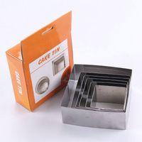Wholesale Square Dishes Set - Wholesale- AMW 6pcs set Stainless Steel Square Cake Tin Mousse Ring Kitchen Baking Tools