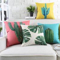 Wholesale Chocolate Bedroom - 6 styles Cactus Pineapple Cushion Covers Palm tree Leaf Pillows Case Tropical Plant Pillow Cover 45X45cm Bedroom Sofa Decoration