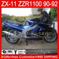 ingrosso cavalletti blu kawasaki-8Gifts 23Colors Per KAWASAKI NINJA ZX11 ZX11R 90 91 92 ZZR 1100 21NO27 ZX 11 11R blu nero ZZR1100 ZX-11R ZX-11 1990 1991 1992 Kit carenatura