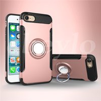 Wholesale Back Cover Magnetic - Hybrid TPU+PC 2-in-1 Armor Case Shock-Proof Cases 360 Ring Stand Holder Magnetic Back Cover For iPhone 7 6S Plus Samsung S8 S7 Edge