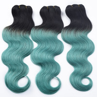 Wholesale Two Tone Peruvian Body Wave - 8A Green Brazilian Hair Body Wave Brazilian Virgin Hair Two Tone 3 Bundle Brazilian Green Body Wave Sexy Green Ombre Human Hair