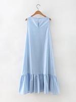 Wholesale Dress Ruffle Hem - 2017 women vintage sleeveless o neck long dress elegant vestidos casual loose Hem ruffle patchwork party brand dresses