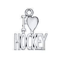 New Hot Fashion Antique Silver Plated I Love Hockey Heart Charms Bijoux de sport